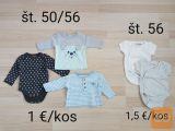Oblačila za novorojenčke št. 50, 56, 62, 68